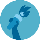 hand with torch icon
